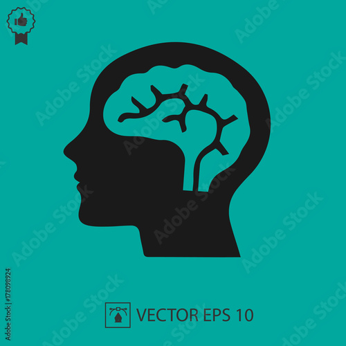 Head with brain vector icon eps 10. Simple isolated illustration. Wall mural