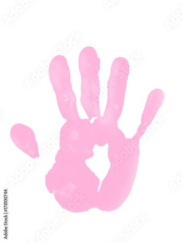 Fotografia, Obraz  Pink Paint Handprint