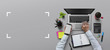 canvas print picture - Office workplace with laptop, notebook, hand, office supplies, on gray background. Solution, business planning, financial analysis, accounting, start up or working flat lay top view concept.