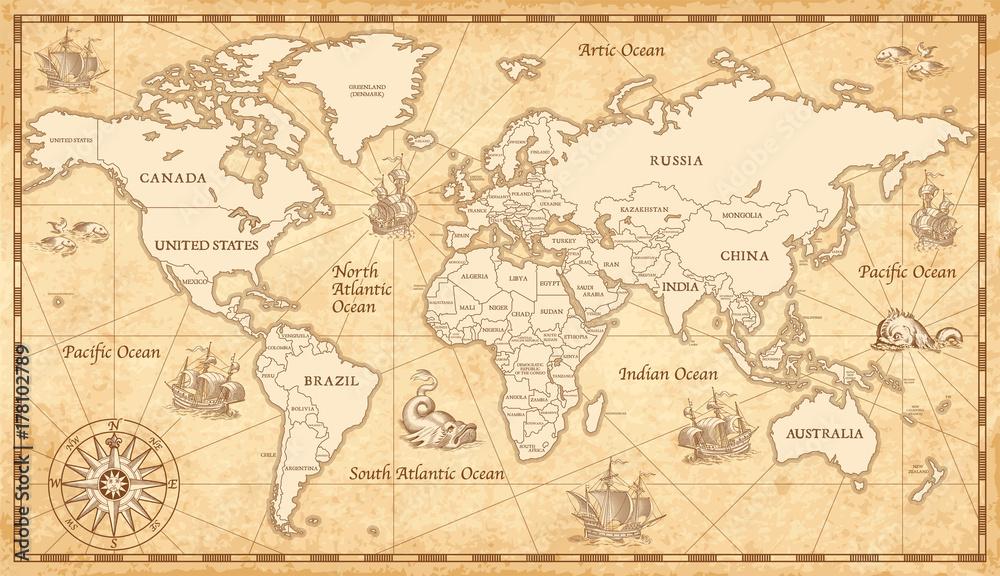 Fototapety, obrazy: Old Vintage World Map