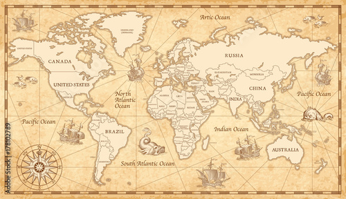Deurstickers Schip Old Vintage World Map