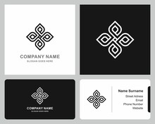Logo Business Card Geometric Square Cross Pattern Flowers Morocco Ornament Company Stock Vector Logo Design Template