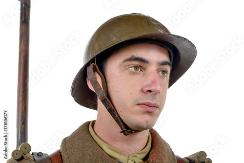 Photo french soldier 1940 isolated on the white background