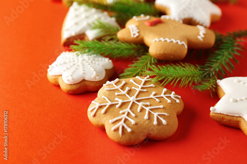 Tasty Christmas Cookies On Color Background Buy This Stock Photo