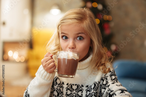 Montage in der Fensternische Schokolade Beautiful little blonde girl drinking cacao with marshmallow on Christmas morning, looking at camera