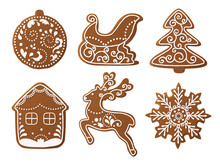 Set Of Christmas Gingerbread Decorated Cookies. Christmas Tree, Snowflakes, Gifts. Winter Holidays. Vector Illustration EPS10.