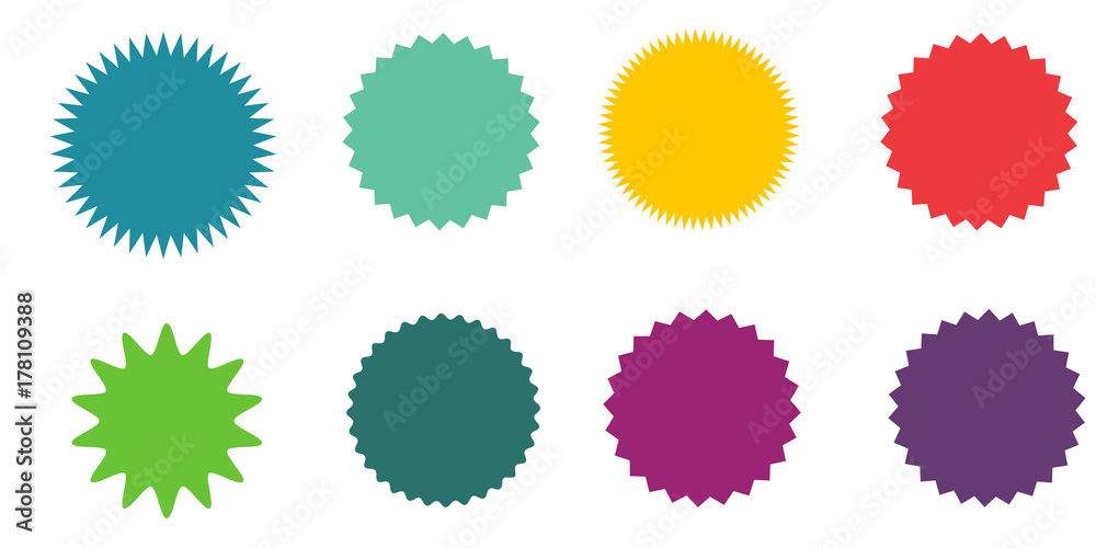 Fototapety, obrazy: Set of vector starburst, sunburst badges.  Vintage labels. Colored stickers. A collection of different types and colors icon.