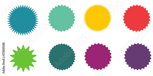 Set of vector starburst, sunburst badges. Vintage labels. Colored stickers. A collection of different types and colors icon.