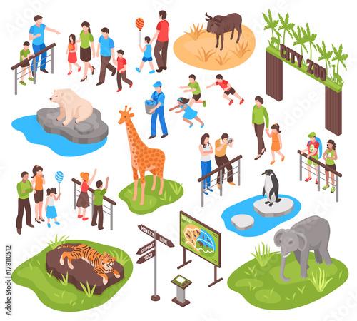 Vászonkép Isometric Zoo Set