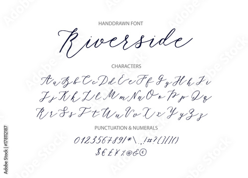 Stampa su Tela Riverside - handwritten Script font.