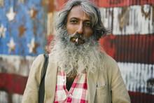 Homeless Man Portrait Against ...