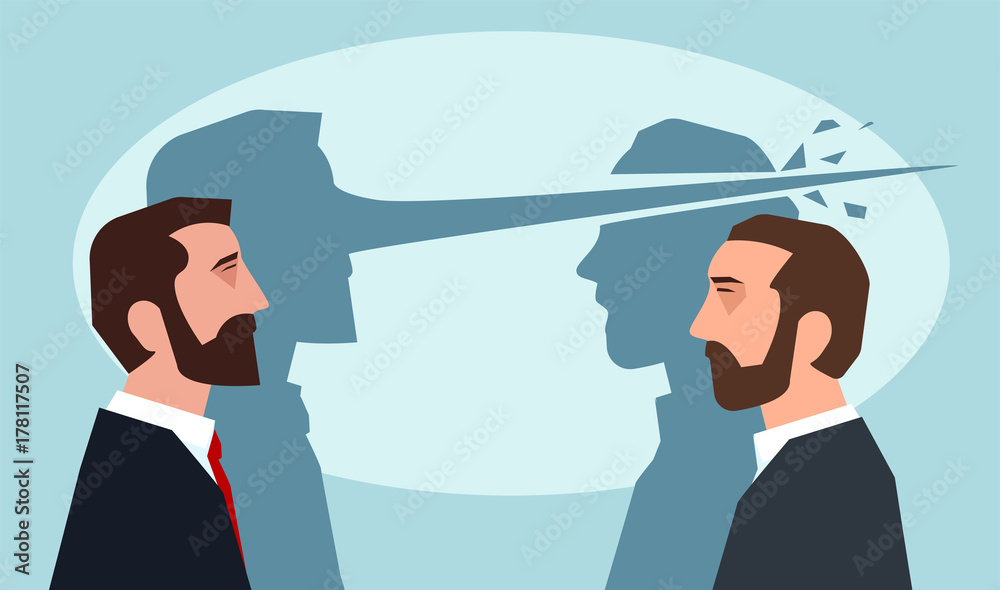 Fototapeta Psychology of lies concept. Man with long nose lying another guy