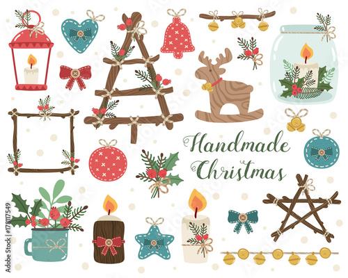 Christmas Tree Toys Handmade.Handmade Cristmas Set Vector Illustration Of Craft