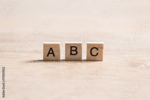 wooden elements with the letters collected in the word abc Canvas Print
