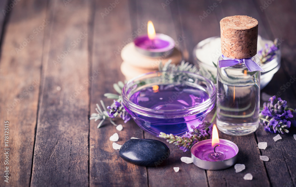 Fototapety, obrazy: Spa set with lavender aromatherapy oil
