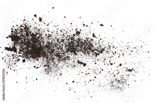 Cuadros en Lienzo  Dirt, soil pile isolated on white background, top view
