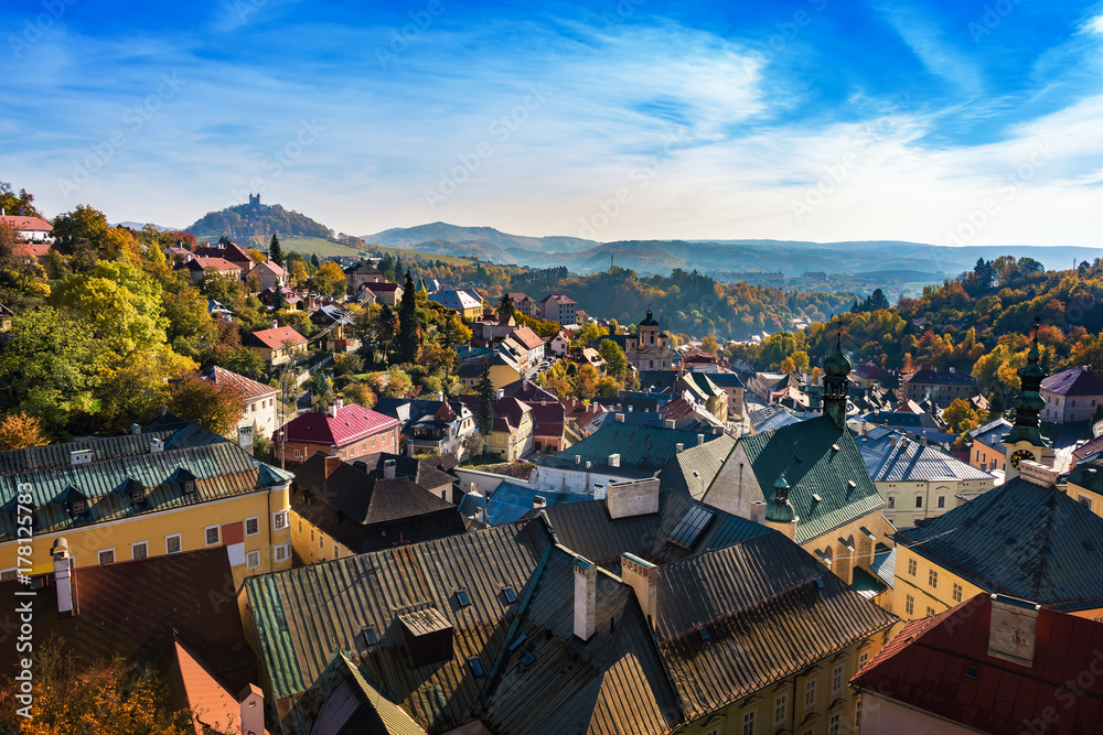 Fototapety, obrazy: Autumn in old town with historical buildings in Banska Stiavnica, Slovakia, UNESCO