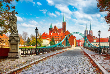 Cathedral Island in Wroclaw Poland green bridge with view