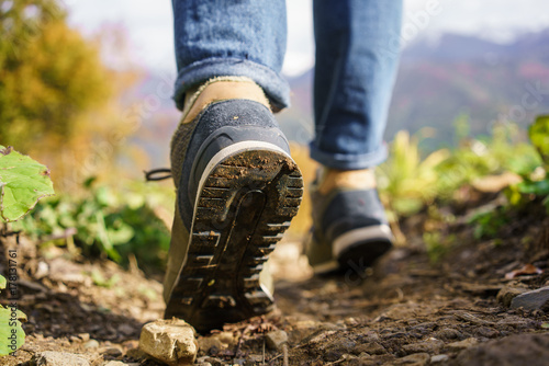 Fotografía  feet sneakers autumn forest large behind