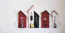 Keys Hanging On Wood Birdhouse...