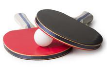 Red And Black Ping Pong Paddles  - Top Facing Camera
