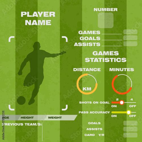Football soccer player statistic vector illustration