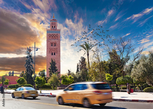 Garden Poster Havana Koutoubia mosque, Marrakesh, Morocco. Travel and adventures concept around the world