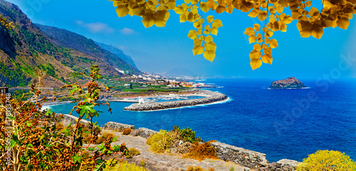 Poster Cote Tenerife island scenery.Ocean and beautiful stone,Garachico beach.Nature scenic seascape in Canary Island.Travel adventures landscape in Spain