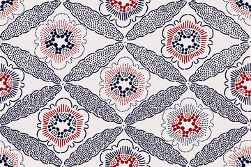 Oriental ethnic seamless pattern, Japanese block printed motif with sakura flowers and diamond ornament. Indigo blue and red on ecru background. Textile design.