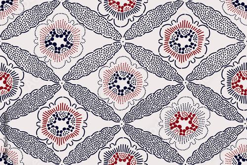 orientalny-etniczny-wzor-motyw-japonski-z-kwiatami-i-diamentowym-ornamentem-kolory-indygo-i-czerwony-na-tle-ecru