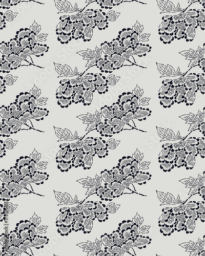 Seamless ethnic stencil pattern, Japanese traditional motif