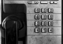 Closeup Of Dirty And Obsolete Telephone Booth