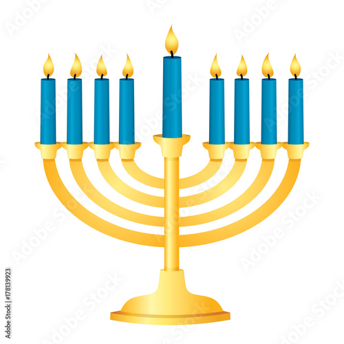 A shiny gold Menorah with blue candles all lit for Chanukah Fototapete