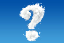 Question Mark From Clouds In The Sky. 3D Rendering