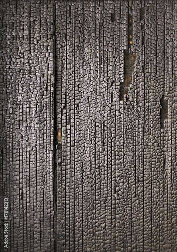 Burnt wooden wall Poster
