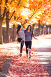 canvas print picture - Two teen girls walking together under colorful autumn maple trees