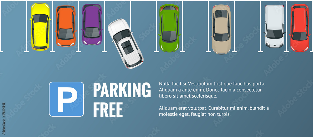 Fototapeta Vector illustration city parking lot with a set of different cars. Public car-park. Flat illustration for web. Urban transport. Large number of cars in a crowded parking.