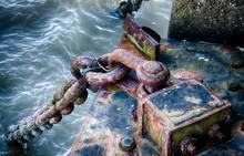 Rusted Post On Docks