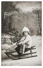 Little Girl Sled Christmas Tree Nostalgic Vintage Picture