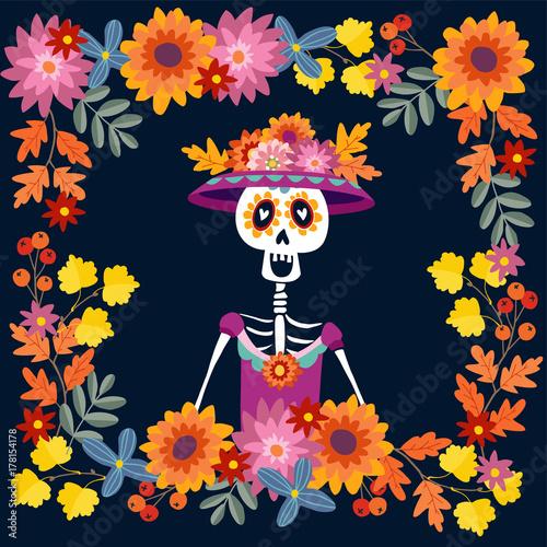 Dia de los muertos greeting card invitation mexican day of the dia de los muertos greeting card invitation mexican day of the dead floral m4hsunfo