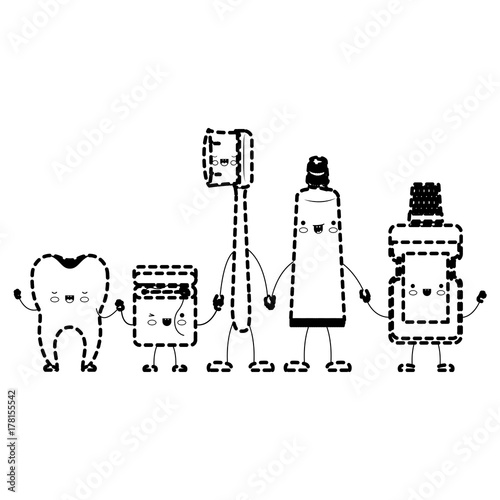 02d7e4933 tooth and dental floss and toothbrush and toothpaste and mouthwash in cartoon  holding hands in black dotted silhouette