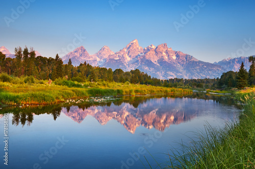 Obraz na plátne Grand Teton at Schwabacher's Landing on the Snake River, Wyoming