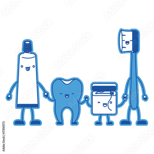 5083a5744 tooth and toothpaste and dental floss and toothbrush in cartoon holding  hands in blue silhouette