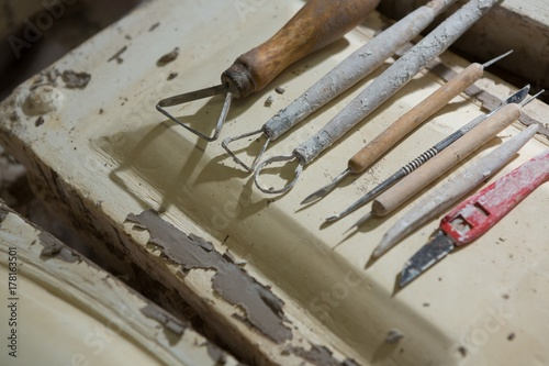 Various pottery tools in workshop