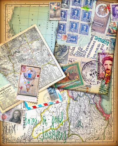 Photo sur Aluminium Imagination Sfondo vintage con vecchie mappe,carte,francobolli e itinerari di viaggio