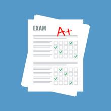 Exam Sheet With A Plus Grade, Flat Design