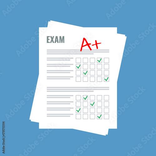 exam sheet with A plus grade, flat design Fototapeta