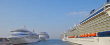 Cruiseships AIDA Vita, MSC Fantasia, Celebrity Silhouette And Royal Princess In Port Of Venice, Italy Ready For Mediterranean Cruise