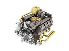 The Truck Engine Concept Of A Modern Cargo Car Engine 3d Rendering On A White Background No Shadow