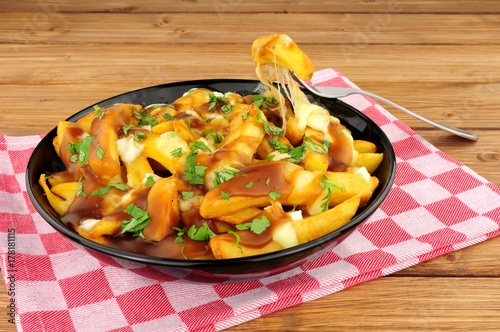 Bowl of traditional Canadian poutine
